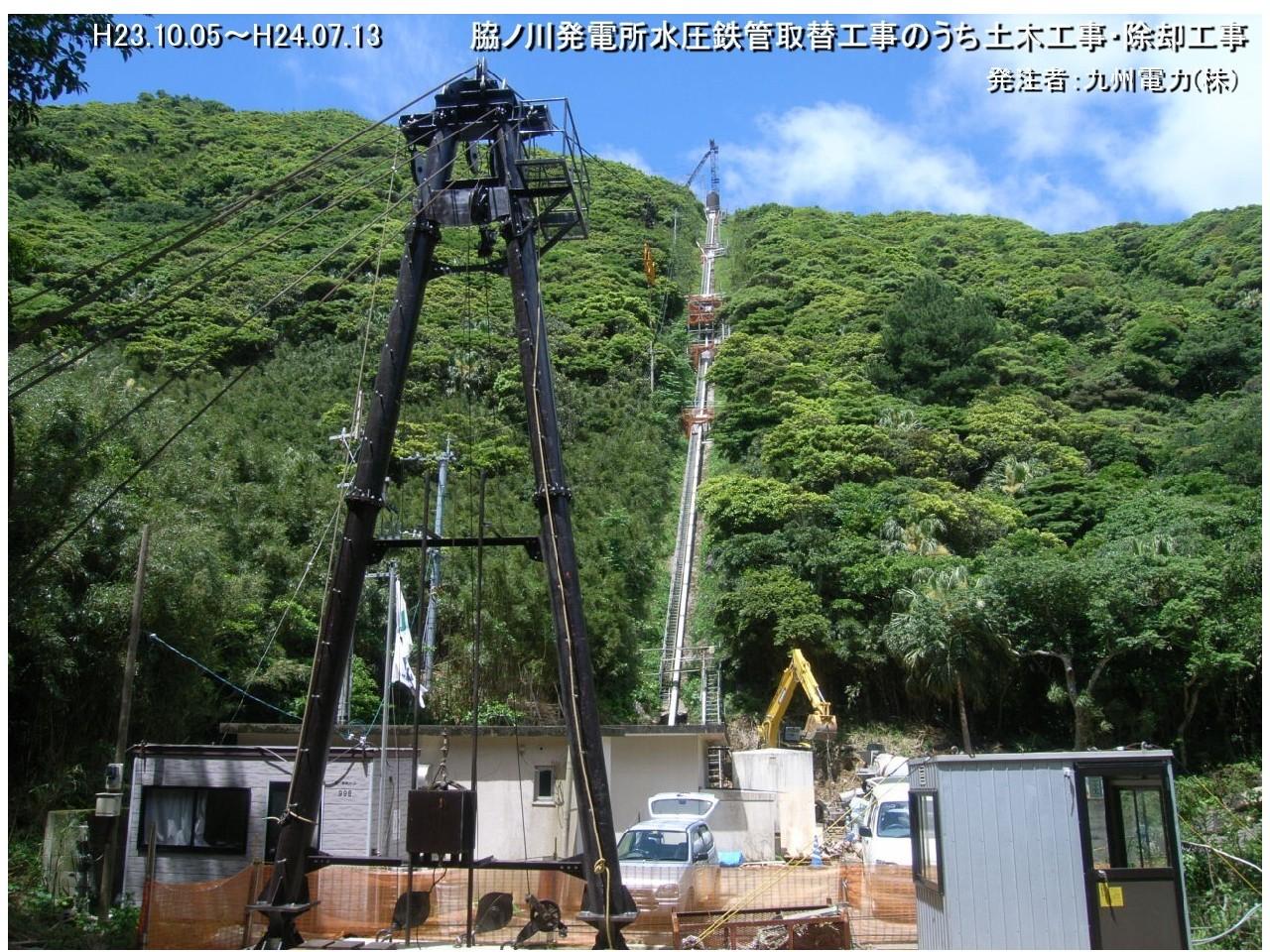 脇ノ川発電所水圧鉄管取替  工事のうち土木工事・除却工事