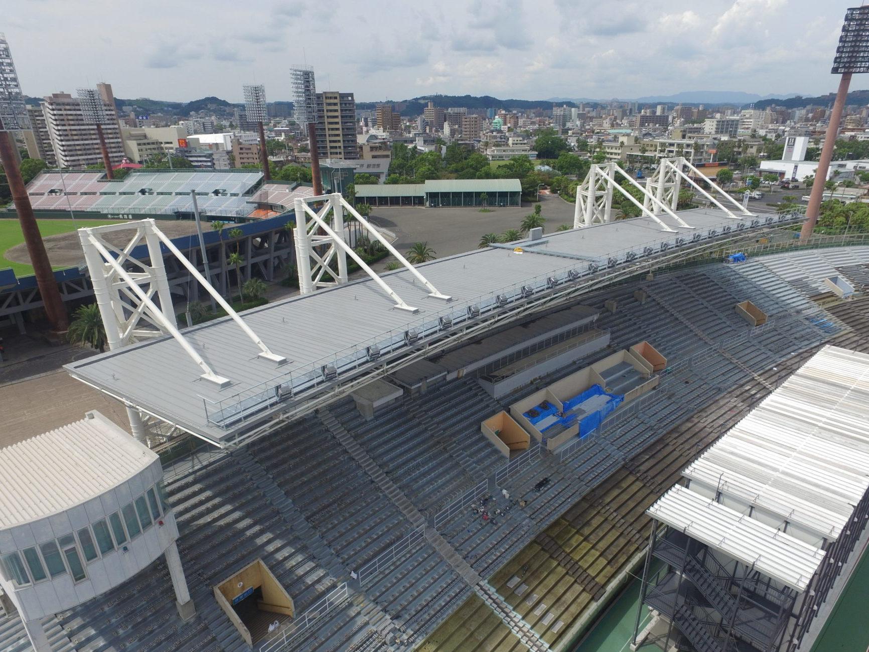 鴨池陸上競技場メインスタンド屋根改築工事